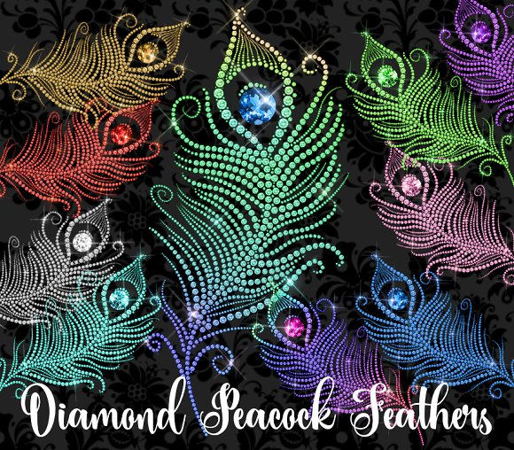 Diamond Peacock Feathers Clipart