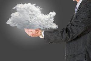 Senior manager holding cloud computing
