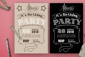 Chalkboard Birthday Invitation Card
