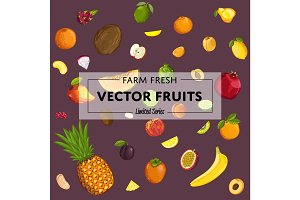 Farm fresh fruit vector poster