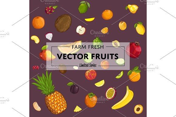 Farm Fresh Fruit Vector Poster