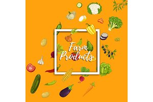 Farm product banner with vegetable