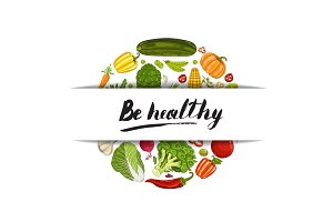 Be healthy banner with vegetable