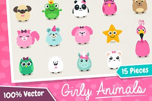 Vector Girly Animals