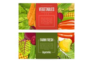 Fresh farm food banners with vegetable