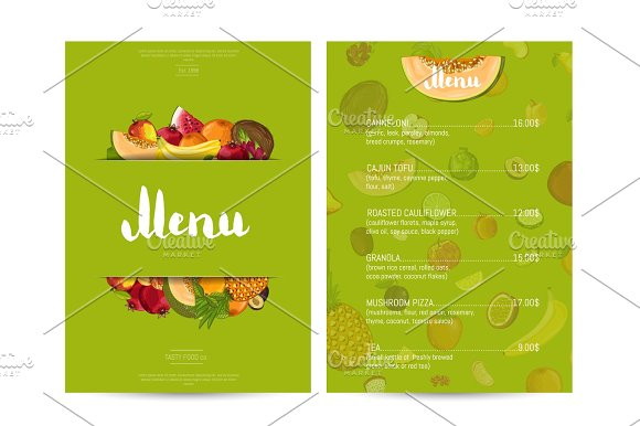 Vegan Cafe Food Menu Design