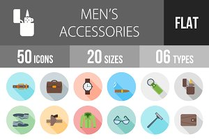 50 Men's Items Flat Shadowed Icons