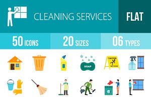 50 Cleaning Flat Multicolor Icons