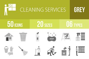 50 Cleaning Greyscale Icons