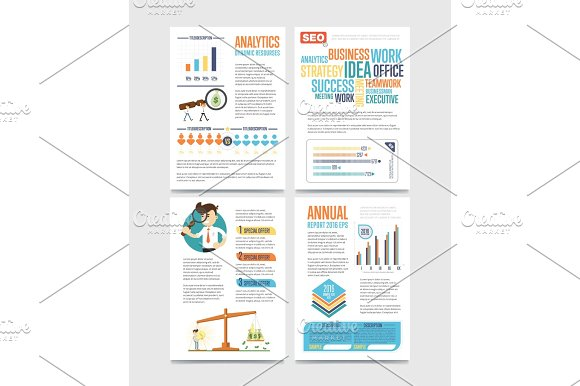 Business Infographics Banner Set With Charts