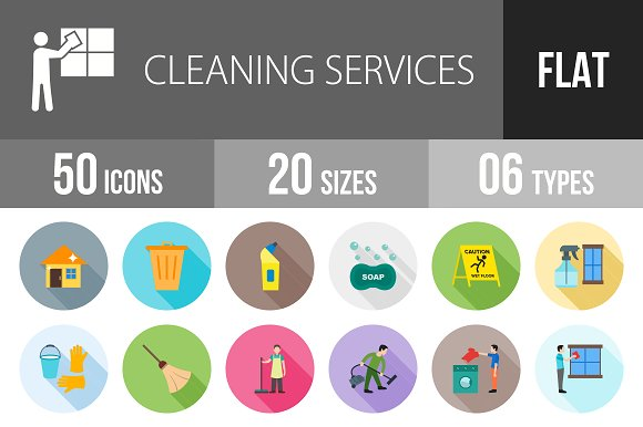 50 Cleaning Flat Shadowed Icons