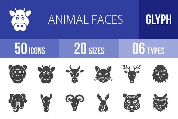 50 Animal Faces Glyph Icons