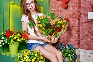 Teen girl with bouquet of flowers