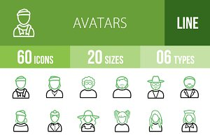 60 Avatars Line Green & Black Icons