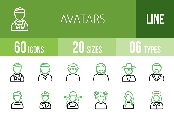 60 Avatars Line Green Black Icons