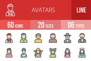 60 Avatars Filled Line Icons