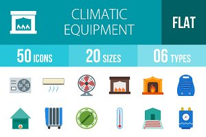 50 Climatic Flat Multicolor Icons