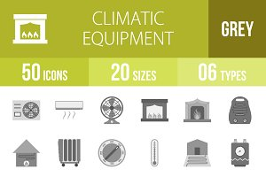 50 Climatic Greyscale Icons
