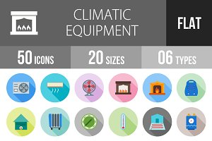 50 Climatic Flat Shadowed Icons