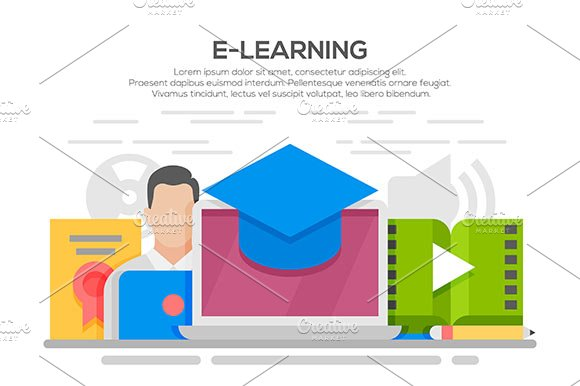 E-learning Flat Design Concept