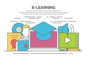 e-learning line flat design concept