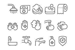 hygiene line icons set