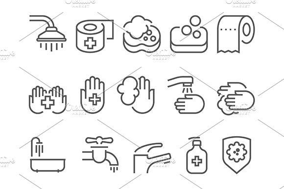 Hygiene Line Icons Set