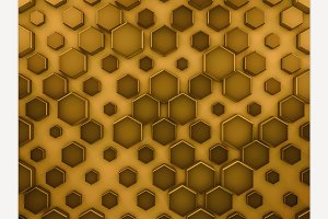 Hexagon glass gold background.