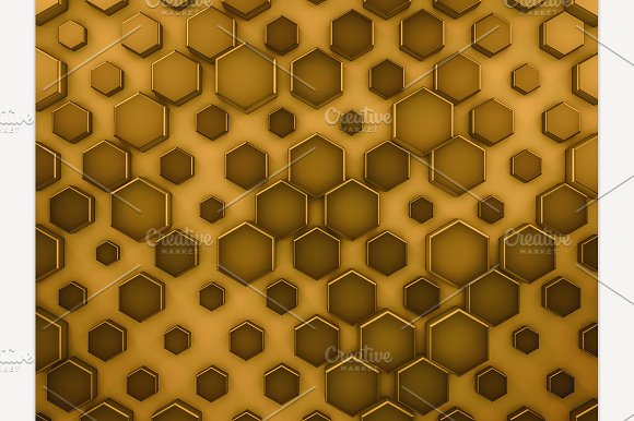Hexagon Glass Gold Background