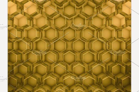 Hexagon Glass Gold Background