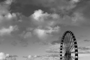 Ferris Wheel Black and White 1
