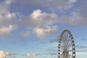 Ferris Wheel with Blue Skies Faded
