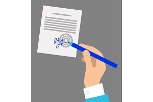 Hand with Pen Signing Document on Grey Background