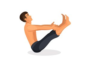 Boy practising yoga navasana pose, holding his hands and legs straight