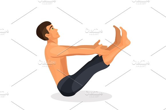 Boy Practising Yoga Navasana Pose Holding His Hands And Legs Straight