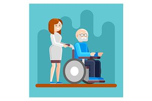 Nurse with disabled old man