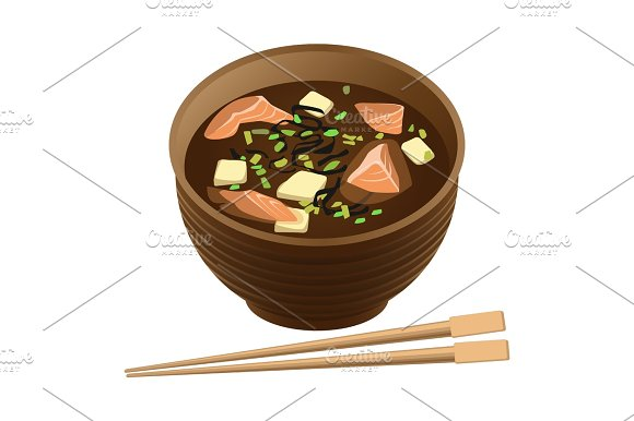 Japanese Traditional Food Soup With Salmon And Tofu In Bowl