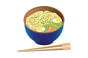 Japanese traditional food ramen soup in deep bowl and sticks