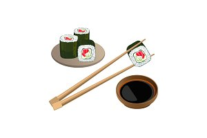 Sushi with salmon in chopsticks above bowl and soy sauce