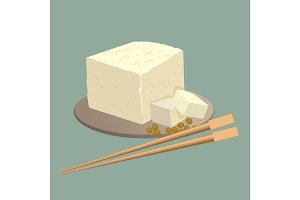 Tofu cheese on plate with chopsticks isolated. Healthy chinese food