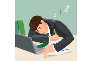 Tired man sleeping at desk. Businessman in suit fall asleep