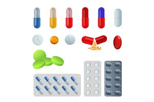 Set of vector pill capsules. Tablets in blisters painkillers antibiotics