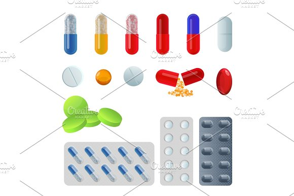 Set Of Vector Pill Capsules Tablets In Blisters Painkillers Antibiotics