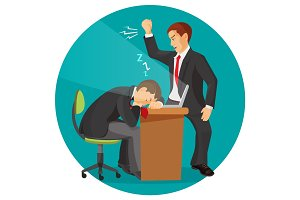 Angry businessman screaming at his worker. Man fall asleep