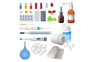Set of vector medical objects for treatment, pills and capsules
