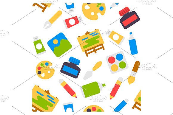Art Flat Icons Seamless Pattern