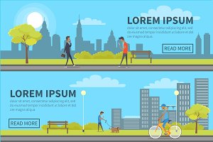 Web Banner of People Spending Time in Urban Park