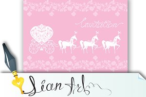 Pink Greeting Card - Wedding Invitat