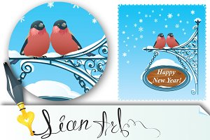 2 Bullfinches - Happy New Year Card