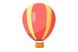 Red-Yellow Airballoon Icon Isolated on White.